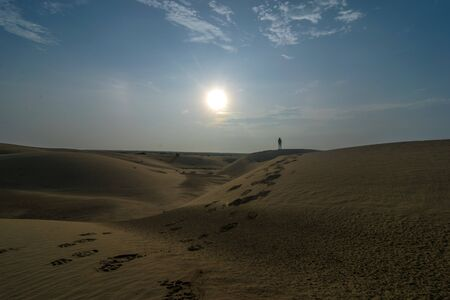 Sunrise in Thar Desert in Jaisalmer - Rajasthan India Stock Photo