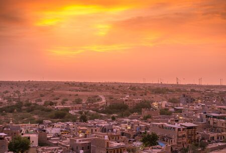 Sunset in Golden City Jaisalmer in Rajasthan -