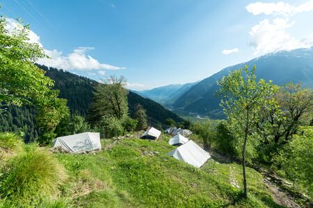 Camping site in the mountains near hamta -