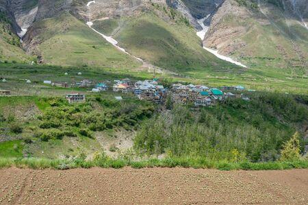 Panoramic view of the village beside river in himalayas