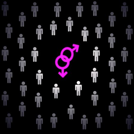 fellings: group of men and two pink male signs, black background