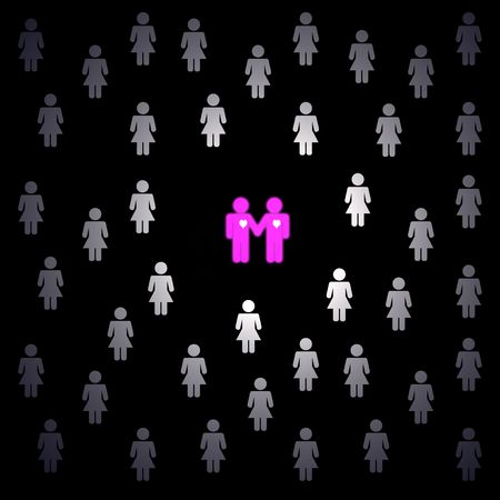 fellings: group of women and two pink male gays holding the hands, black background
