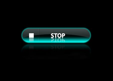 one neon blue button Stop, black background photo