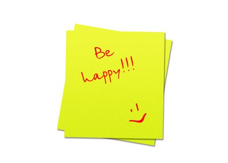 be happy: two yellow sticky notes be happy, white background Stock Photo