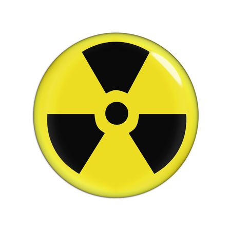yellow and black radiaction warning sign, white background