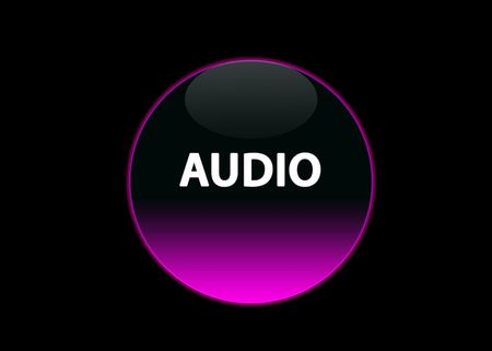 one pink neon button audio, black background photo