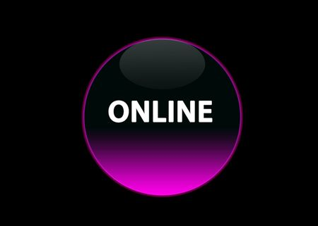 one pink neon button online, black background photo
