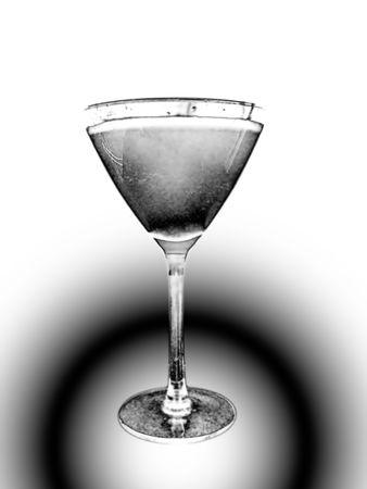 black and white picture of retro martini glass photo