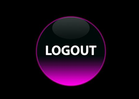one pink neon button logout, black background photo