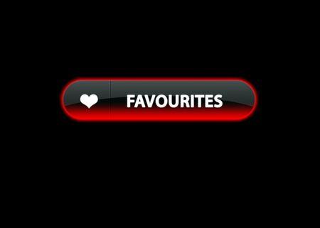 favourites: red neon web button favourites, black background