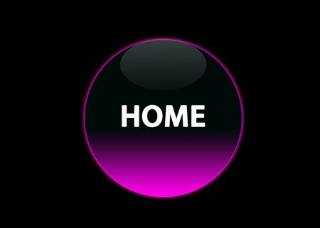 one pink neon button home, black background photo