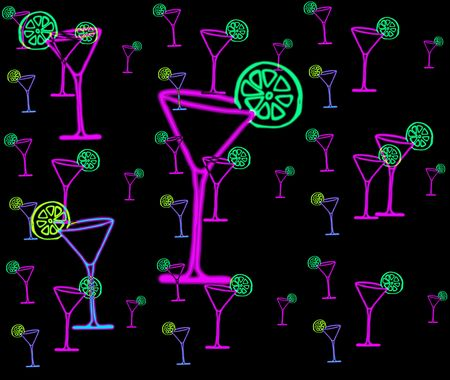 image about pink martini glasses with green lime photo
