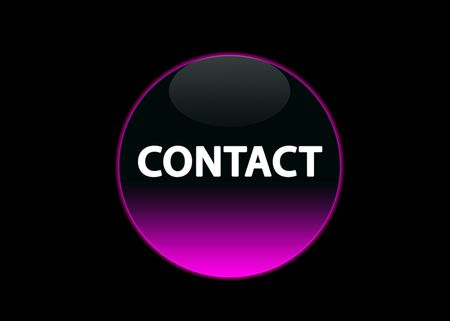 one pink neon button contact, black background photo