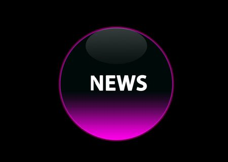 one pink neon button news, black background Stock Photo - 3123511