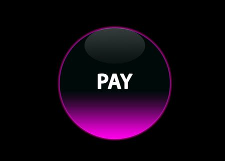 one pink neon button pay, black background Stock Photo - 3123508