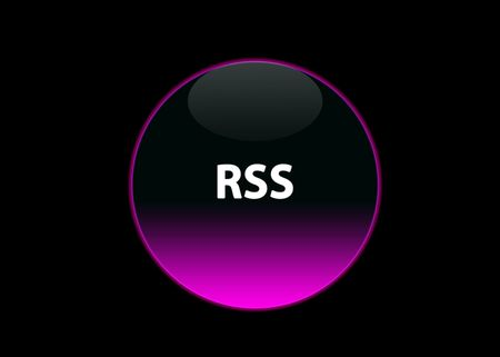 one pink neon button rss, black background photo