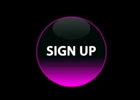 one pink neon button sign up, black background Stock Photo - 3123513