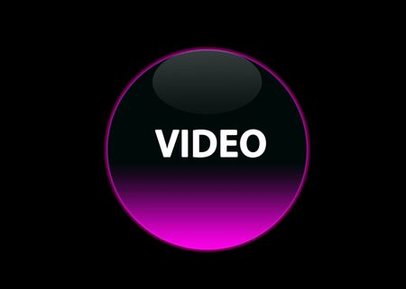 one pink neon button video, black background Stock Photo - 3123512