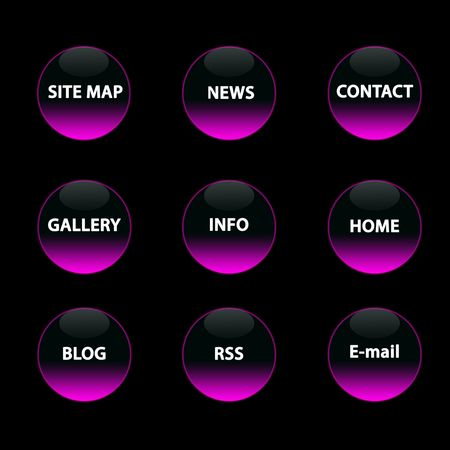 9  pink neon buttons on the  black background photo
