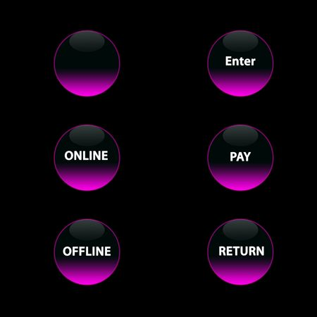 six  pink neon buttons on the  black background photo