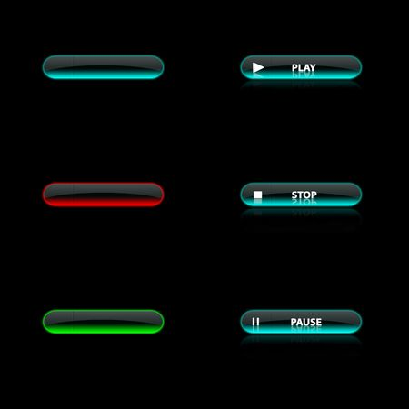 blue button: six blue, green and red neon button , black background
