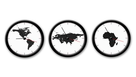 timezone: picture about three black and white wath on tha white background Stock Photo