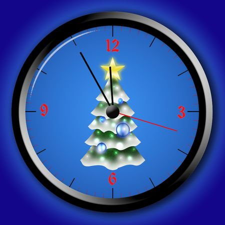 picture about watch with 5 min befor new year on blue background photo