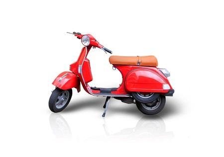 Photo of red scooter on the white background