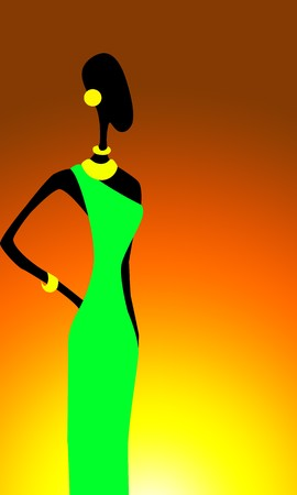Picture of african woman in green dress on sunset photo