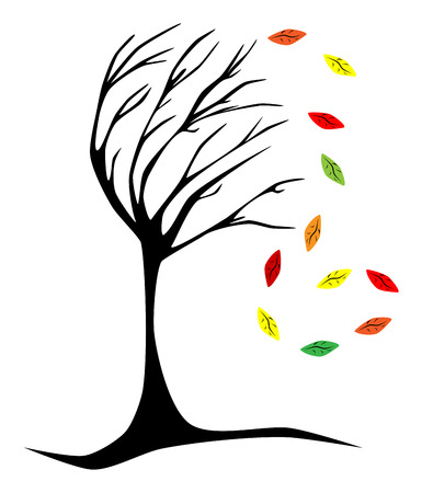 Picture of black tree nad leafs of defferent colors Stock Vector - 7114876