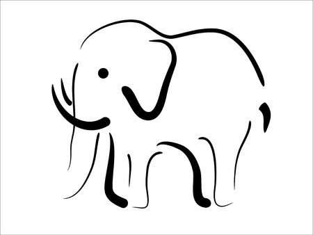 elefánt: Abstact vector picture of black elephant