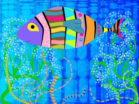 abstact: Abstract picture of multi-colored fish in th sea