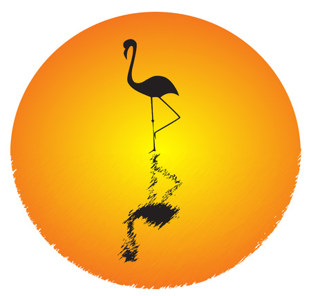 Picture of silhouette of flamingo standing in water and big orange sun Vector
