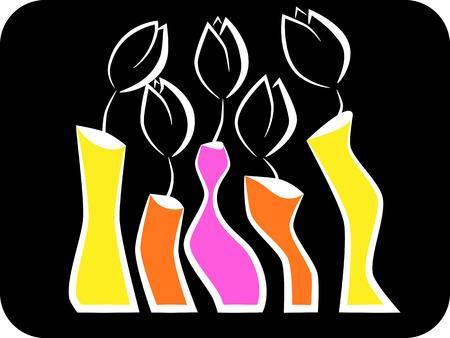 picture of tulips in vase Vector
