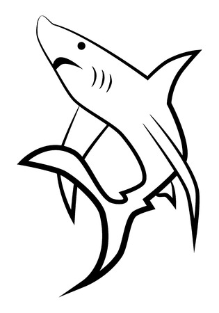 picture of black silhouette of shark Stock Vector - 7461705