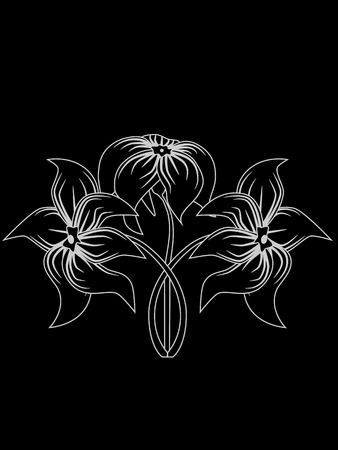 image de gris silhouette de fleurs sur fond noir