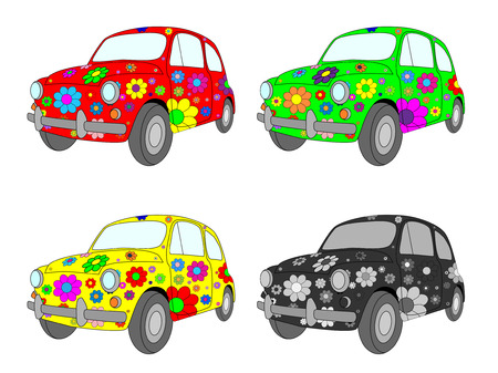 hippie:  picture of four funny cars with floral ornament Illustration