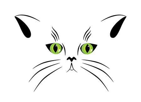 silueta de gato: Foto de la silueta de un gato con ojos verdes