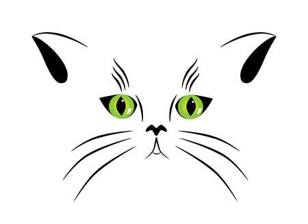 tabby cat:   picture of silhouette of a cat with green eyes