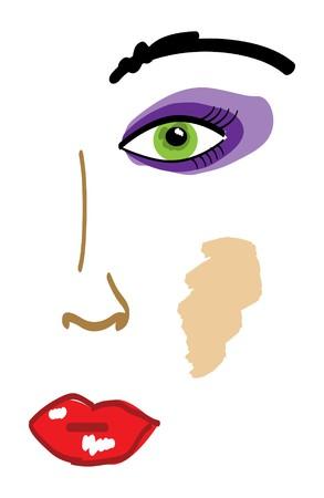 Abstract beeld van gezicht van mooi meisje Vector Illustratie