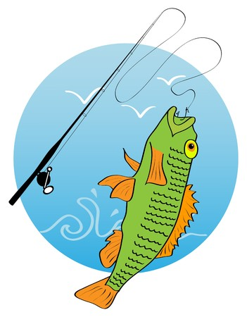 picture of hooked fish and fishing road Stock Vector - 7591253