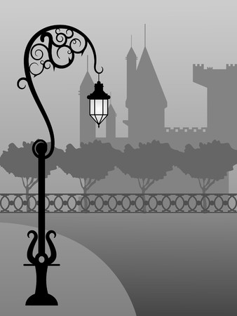lamp silhouette: picture of night landscape with fog, castle and street lamp Illustration