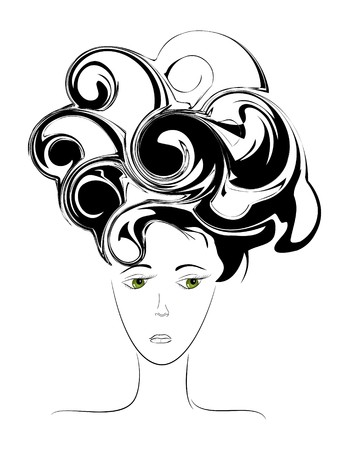 distressing: Abstract picture of sad female face Illustration