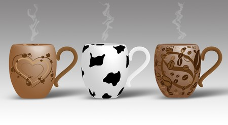 Picture of 3 cups. Coffee, mlik and hot chocolate Stock Photo - 7742489