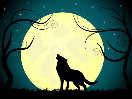 barking: immagine su lupo abbaiare sulla Luna.