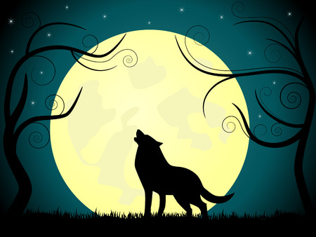 picture about wolf barking on the moon. Stock Vector - 7971535