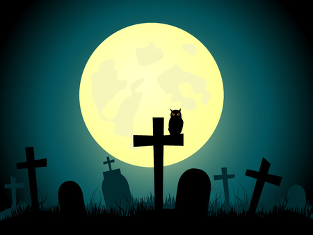 picture about cemetery and full moon. Stock Vector - 7971534