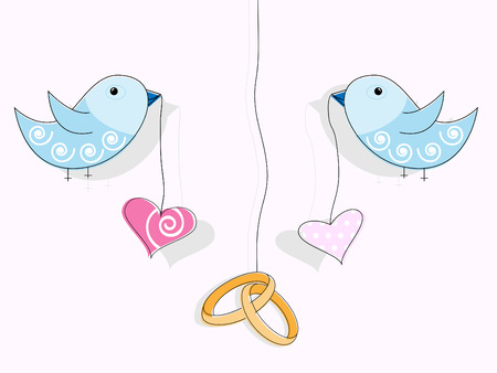 wedding rings: pattern for wedding invitation. Wedding rings, hearts and blue birds