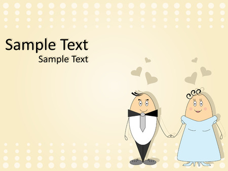 Vector pattern for wedding invitation with funny couple. Vector