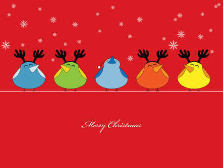 Vector picture of birds singing christmas songs on red background Illustration